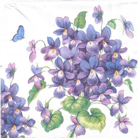 Serviettes en papier motif Violette (20 unités)