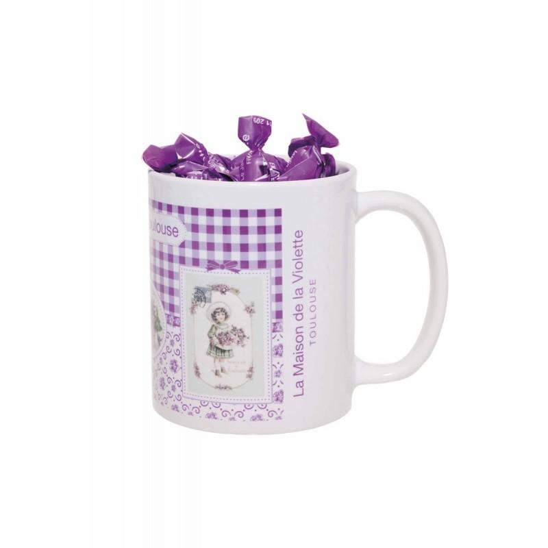 Mug en céramique avec 65g de bonbons acidulés mini-papillotes