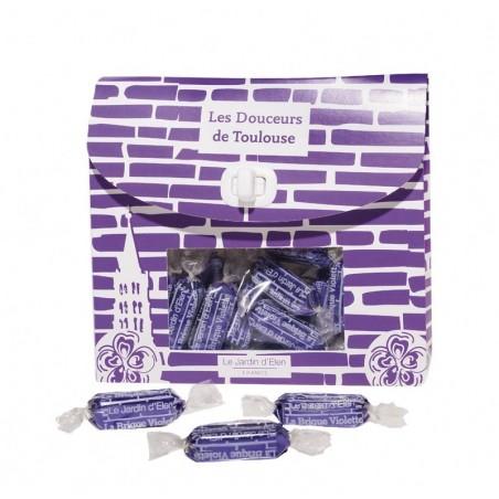 """Pochette bonbons """"Brique Violette"""" Praliné Feuilleté saveur Violette 220g"""