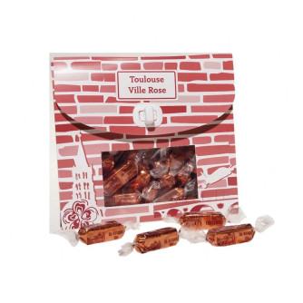 """Pochette bonbons """"Brique Rose"""" Praliné Feuilleté 220g"""