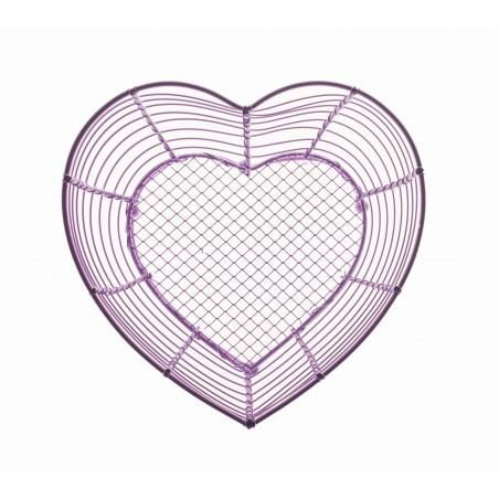 Corbeille grillage coeur violet
