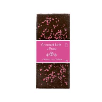 Tablette de chocolat noir / Rose cristallisée 100g