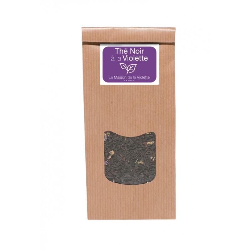 Sachet de thé noir 100g à la Violette avec fleurs