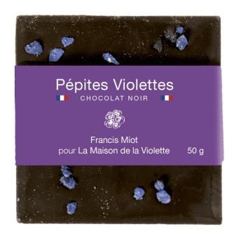 """""""Pépites"""" Violette : tablette 50g chocolat noir / Violette par Francis Miot"""